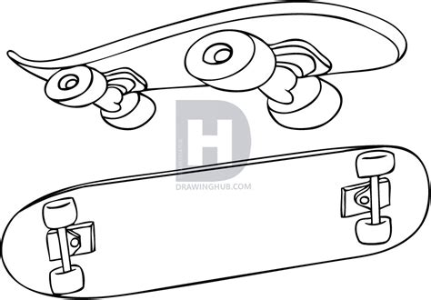 How To Draw A Skateboard, Step By Step, Drawing Guide, By
