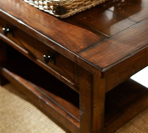 how to make a coffee table higher benchwright rectangular coffee table pottery barn