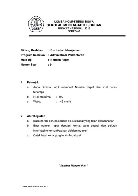 Buat Notulen Rapat by 44 Upload Lks 2015 Sekretaris