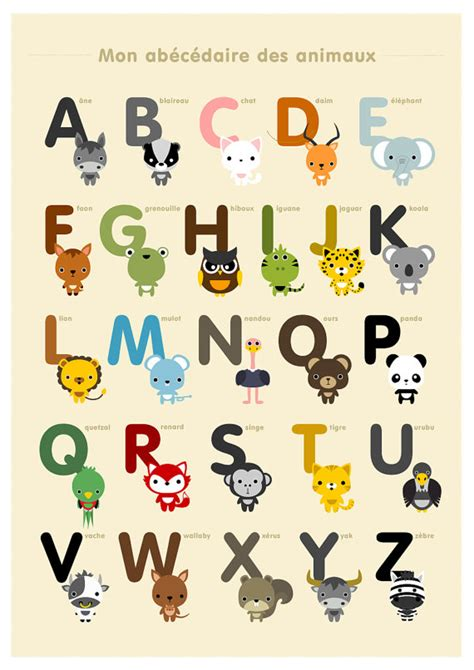 french alphabet  number posters kids wall art animal