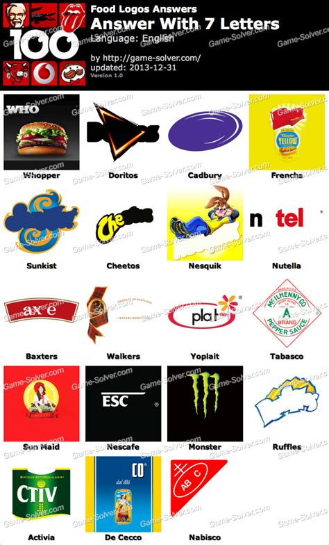 the current answers to 7 letter words trivia in 4 food logos 7 letters solver 22971