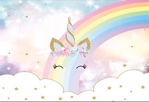 7x5ft Sparkle Rainbow Clouds Sky Gold Unicorn Horn Baby