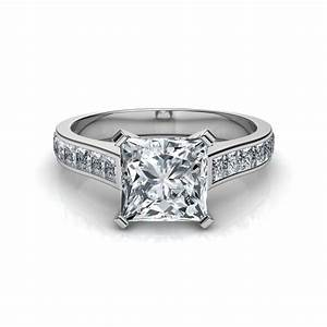 princess cut engagement ring with 16 side diamonds With wedding rings princess cut