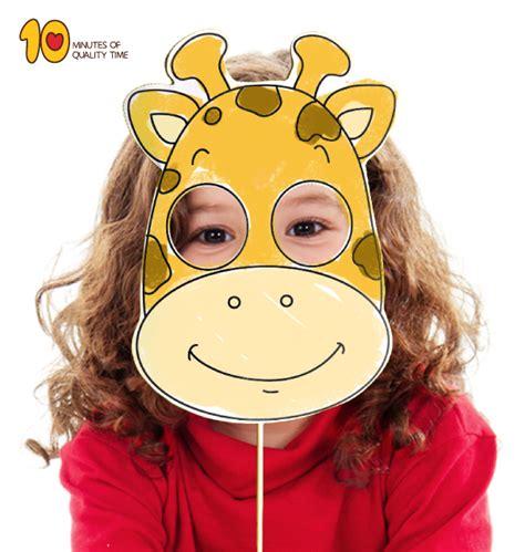 printable giraffe mask  minutes  quality time