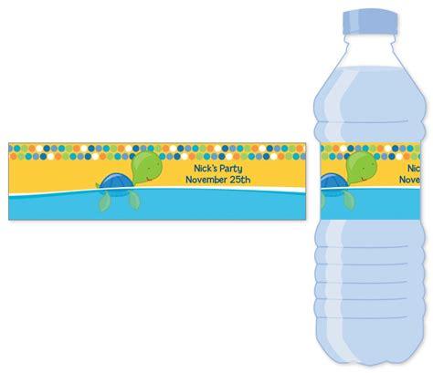 sea turtle boy water bottle label birthday party water