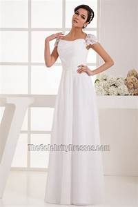 simple cap sleeves chiffon floor length wedding dress With chiffon wedding dresses with sleeves