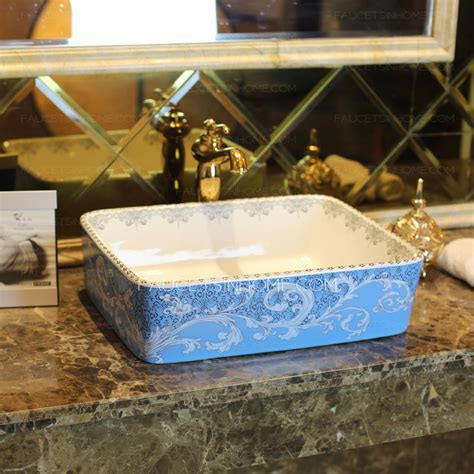 Blue Rectangle Ceramic Bathroom Sinks Pattern Painting