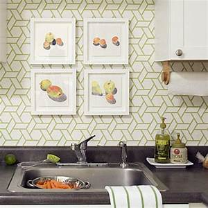 15 modern kitchen designs with geometric wallpapers 2069