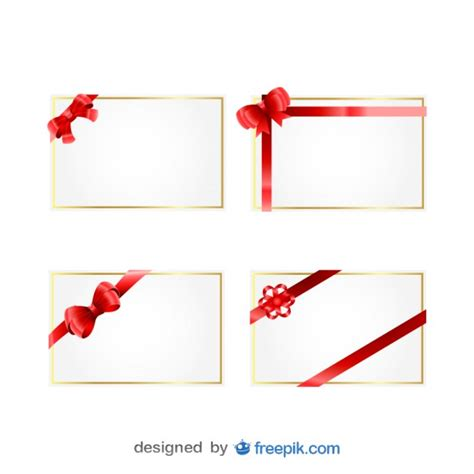 christmas gift cards with red ribbons vector free download