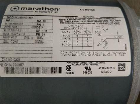 Marathon 2hp Electric Motor Wiring Diagram by Marathon Motors 5kc49pn0155 Motor 12 Hp 1725 Rpm 115208