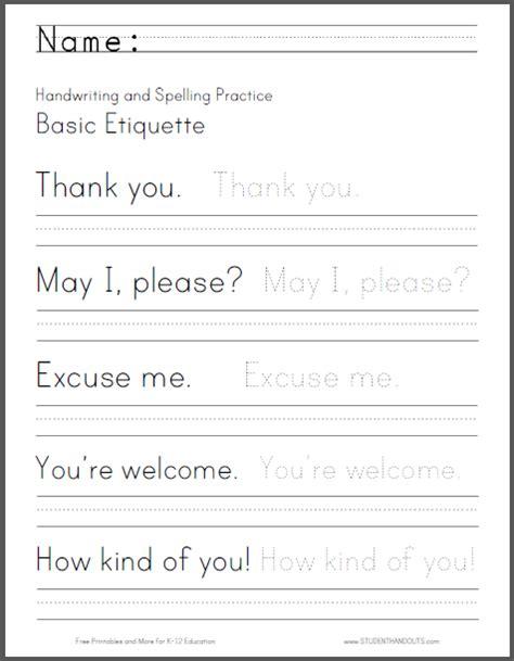 basic etiquette handwriting and spelling worksheet free
