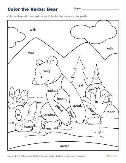 color  bear printable   grade verbs activity