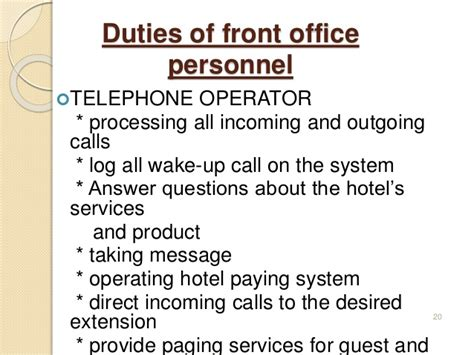 Telephone Operator Description Duties by Introduction To Front Office