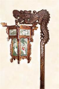 chinese dragon floor lamp 1920s to 1930s carved wood With brass dragon floor lamp