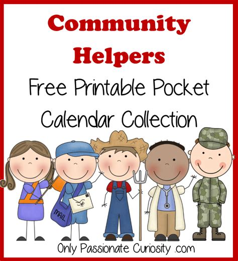 Community Helpers Free Pocket Calendar Cards And Reading Pack {printable}  Only Passionate
