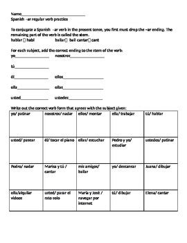 Present Tense Of Ar Verbs Worksheet 1 Answers 17 Best Images About Spanish Class Present Tense