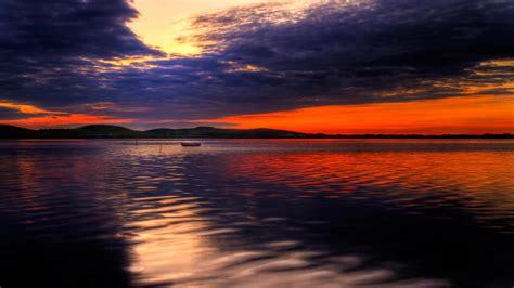 full hd wallpaper boat lake overcast sunset hill scotland