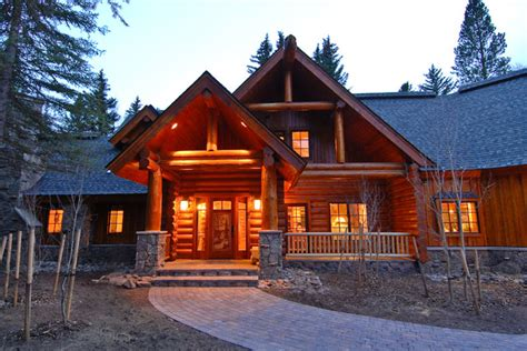 Sage Creek Canyon Hybrid Log Home  Rustic  Exterior