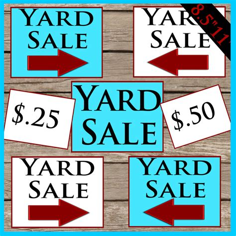 sale signs printable printable yard sale signs digital download printable yard