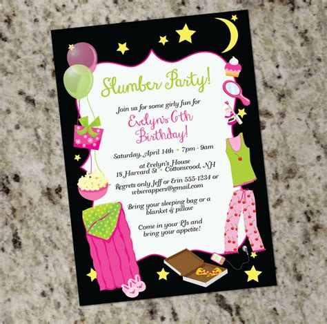 Sleepover Slumber Party Themed Invitations Girly Design