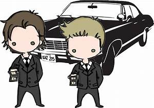 """Supernatural Cartoon Dean & Sam"" Stickers by Ladannnn"