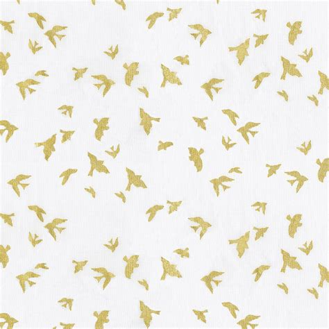 White And Gold Birds Fabric By The Yard  Gold Fabric