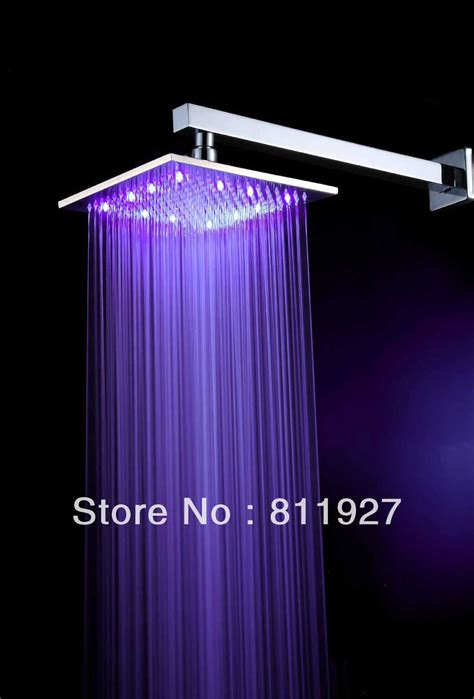 rain shower head with lights free shipping high grade 10 inch 12 led light brass square