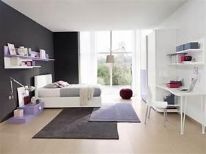 ameublement chambre ado en 95 idees pour filles et garcons With chambre lilas et gris