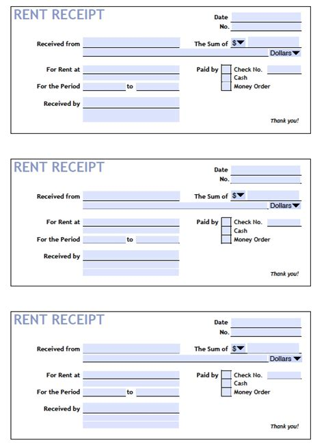 printable rent receipt templates  word
