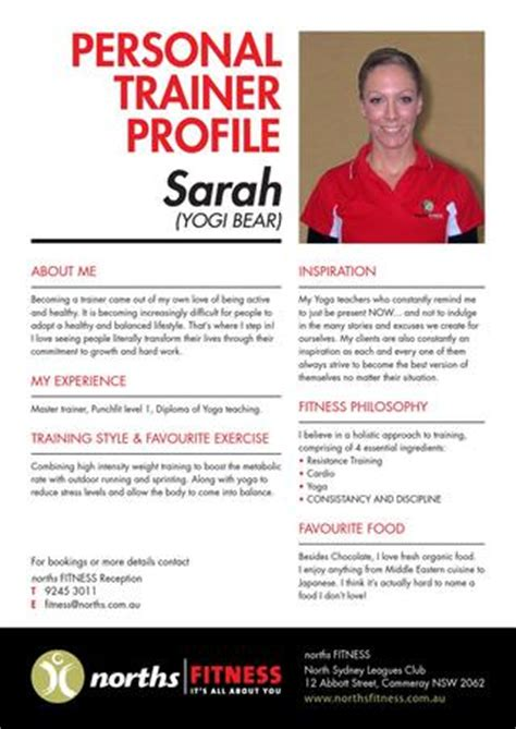 Trainer Profile Sle by Norths Personal Trainer Profiles By Sydney Leagues