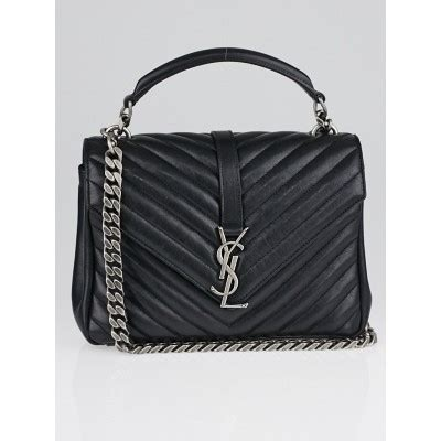 yves saint laurent black quilted leather monogram medium