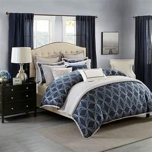 Luxury, Navy, Blue, U0026, Metallic, Silver, Jacquard, Comforter, Set