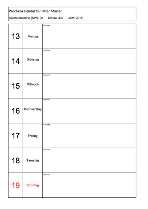 wochenkalender zum ausdrucken muster und vorlagen kostenlos