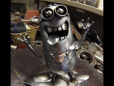 welded scrap metal minion timelapse build youtube