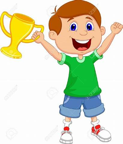 Winner Clipart Cartoon Trophy Boy Win Winning