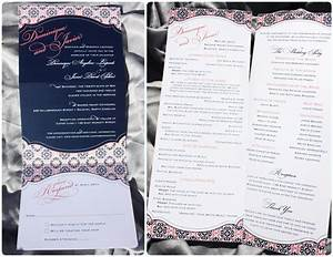 navy coral pattern vertical trifold wedding invitations With vertical tri fold wedding invitations