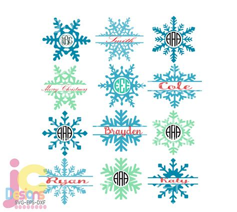 There are so many winter make gift tags with snowflake drawings designed by jen goode. Snowflake SVG snow Flake Monogram Frames Christmas Svg Eps ...
