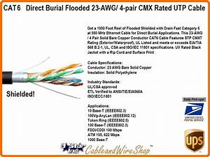 Cat6 Direct Burial Flooded Shielded 4 Pair 23awg Cmxt