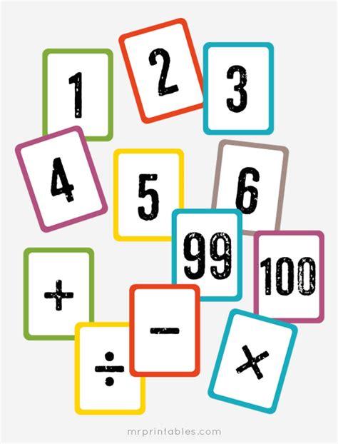 printable math flash cards  printables