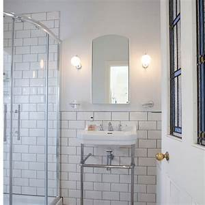 Bathroom interior white brick bathroom wall tiles for Kitchen cabinets lowes with swarovski mirror wall art