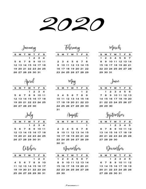 minimal page calendar printables