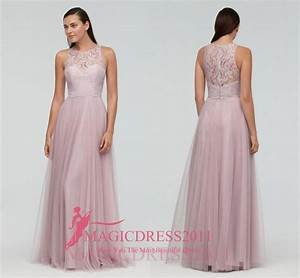 gorgeous pink lace bridesmaid dresses a line jewel With western dresses for wedding guests