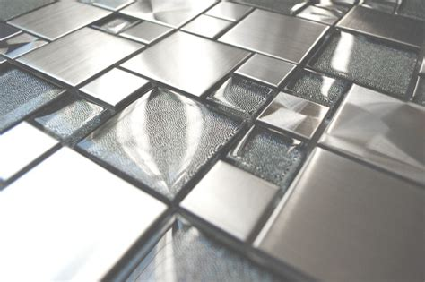 mosaic tile modern cobble stainless steel with silver