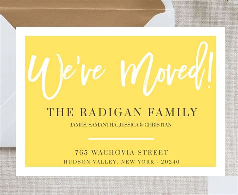 we moved cards template new home announcement postcard moving announcement cards
