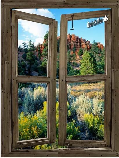 Window Wall Cabin Desert Mural Canvas Murals