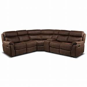 vaquero 6 piece reclining sectional saddle brown leon39s With 6 pc sectional sofas