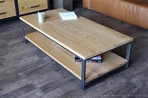 Table Basse Bois Acier : table basse deux plateaux ch ne m tal micheli design ~ Teatrodelosmanantiales.com Idées de Décoration