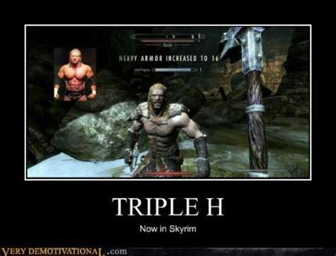 Elder Scrolls Memes - triple h does skyrim getting my geek on pinterest skyrim
