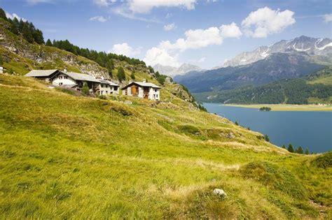 Walking Around Sils Lake On Engadine Valley Switzerland