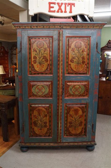 Armoire Cupboard by Antique Painted Cupboard Armoire Shrank Folk German